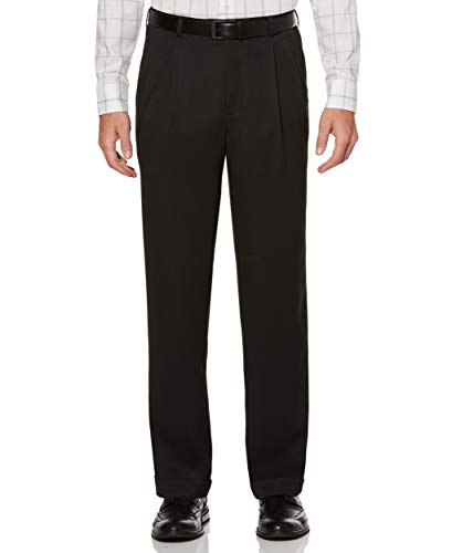 Perry Ellis Men's Classic Fit Elastic Waist Double Pleated Cuffed Pant, Caviar, 36x34