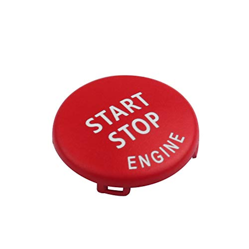 (DKMUS Start Stop Button For BMW E Chassis 1 3 5 6 Series X1 X3 X5 X6 Start Stop Button Cap Engine Switch Power Ignition Replacement (Red))