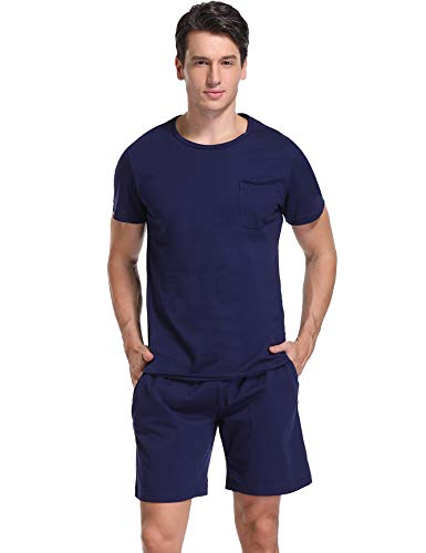 iClosam Men's Pajama Set 100% Cotton Summer Sleepwear Crew Neck Short Sleeve and Bottom S-XXL