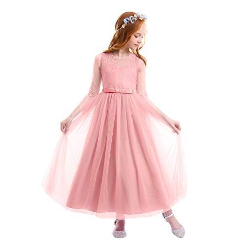 (OBEEII Big Girl Dresses 7-16 Girls Flower Girl Dresses for Wedding Princess Tutu Dress for Toddler Girl Christening Photography Christmas Holiday Dress Pink 1 11-12 Years)