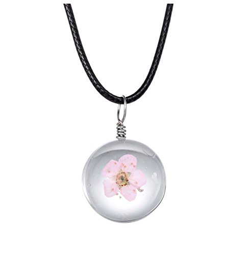 Winter's Secret DIY Handmade Round Shape Crystal Glass Dried Pink Myosotis Flower Specimen Pendant Lucky Choker Necklace with Rope Chain (Pink Lucite Flower Bead)