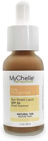MyChelle Dermaceuticals Sun Shield Liquid Tint Spf 50 Natural Tan, oil-free daily Facial Broad Spectrum Sun Protection, All Skin Types, for Medium To Tan Complexion, Gluten Free & Vegan, 1 Fl Oz