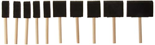 Value-Pack 10-Pc Foam Paint Brush Set - Wood Handles by Industrial Tools ()