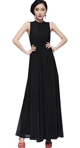 Zehui Womens Maxi Long Chiffon Beach Ball Gown Backless Evening Cocktail Party Dress