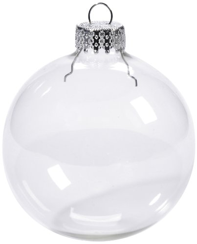 Darice 2610-42 6-Piece Heavy Duty Glass Balls Clear Glass, 70mm (Ornament Clear Ball)