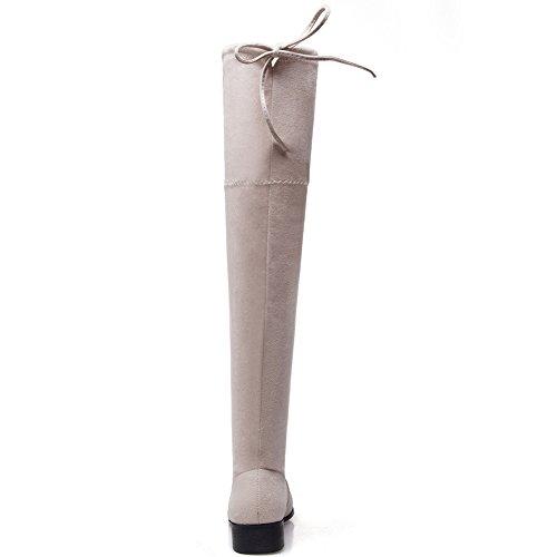 Ifantasy Wildleder Flach Kordelzug Overknee Oberschenkel Hohe Stretchy Stiefel für Frauen Aprikose
