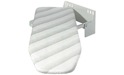 GedoTec® Bügelbrett Klappbar Ironfix Premium Bügeltisch mit graue Steifen | Klapptisch 180° drehbar | Stahl RAL 9016 | Wand-Bügelbrett für Wandmontage | Markenqualität für Ihren Wohnbereich