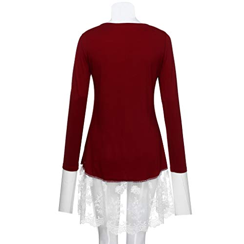 Fashion Tunics in Londony ♥‿♥ Women's Metal Cross Front Lace Trim Layered Tops Shirt Long Sleeve Blouse Clothing
