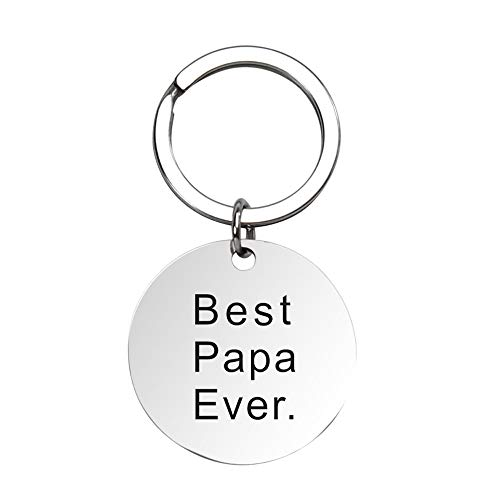 Bestwick Stainless Steel Keychain Papa Gifts for Dad from Daughter,Fathers Day Birthday Best Dad Gifts Personalized Keychain Engraved Best Papa Ever
