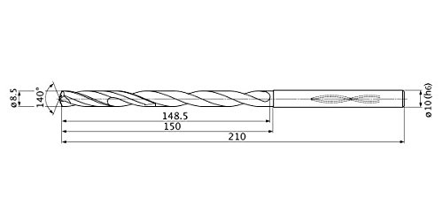 10 mm Shank Dia. 8.5 mm Cutting Dia 1.6 mm Point Length 15 mm Hole Depth Mitsubishi Materials MHS0850L150B MHS Series Solid Carbide Drill Internal Coolant