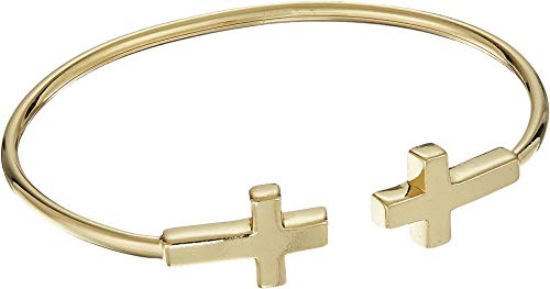 Alex and Ani Women's Cross Cuff Bracelet 14kt Gold Plated One Size ()