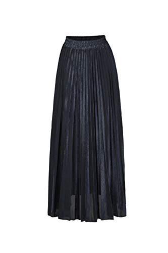 Femmes Jupes Maxi de Plage Haute Mode Couleur t Vintage ORANDESIGNE Longue Noir Fluide Plisse Casual Taille Pur Skirts Jupe qxfw7Ypt