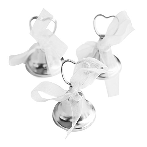 Silver Bell Place Card Holders for Table Numbers, Restaurant Menu, Weddings, Party Decoration (12 Pack)