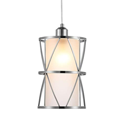 SHENGQINGTOP Modern Cylindrical Pendant Light with Frosted Glass, Brushed Nickel Hanging Light, Transitional Metal Pendant Lighting Fixture for Kitchen Island Sink Dining Room Bar, Led Bulb Included