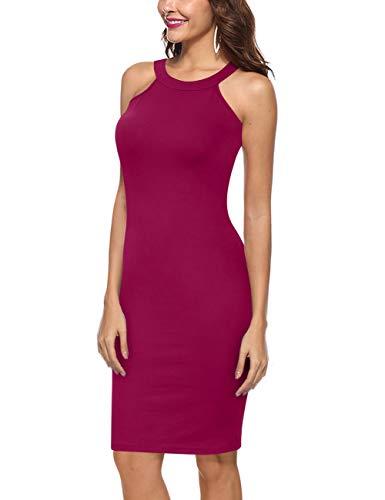 Yesfashion Women's Cocktail Dress Sleeveless Halter Party Bodycon Midi Dress Purple M ()