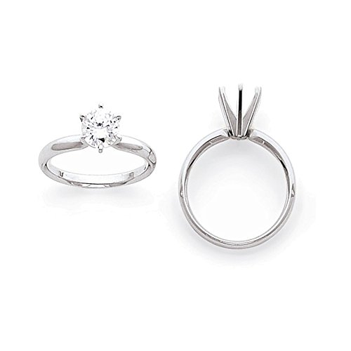 Jewelry Adviser Rings 14k White Gold 3/4ct. Light-Wt Comfort-Fit 6-Prong Ring Mounting 14k Ring Mounting