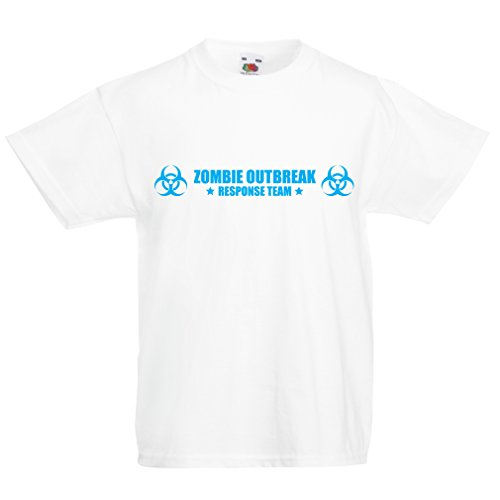 Kids Boys/Girls T-Shirt Zombie Outbreak Response Team Logo, Defense Squad Graphic, Fighting The Living Dead Apocalypse (9-11 Years White Blue) -