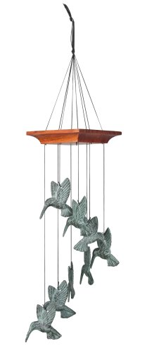 Woodstock Chimes Musically Tuned Chime Habitats-Hummingbird Spiral, Verdigris