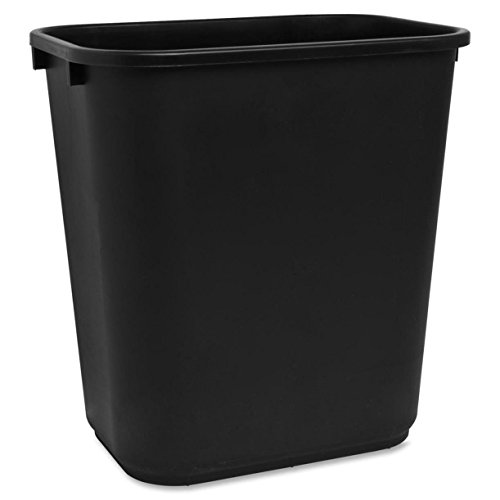 S.P. Richards Company Rectangle Wastebasket, 28 Quart, 14-1/2 x 10-1/2 x 15 Inches, Black (SPR02160)