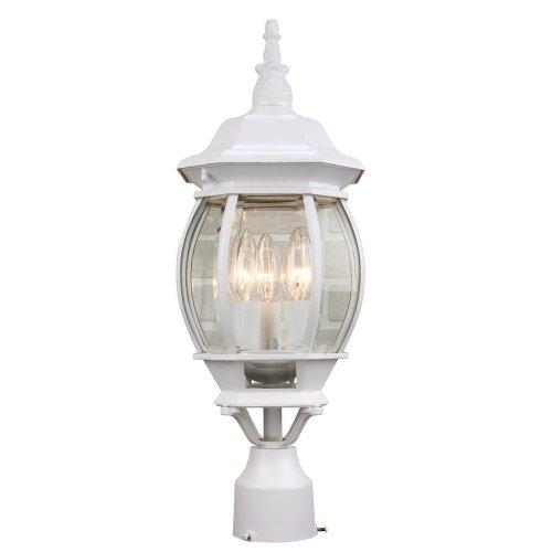 Hampton Bay 3-Light Outdoor White Post Lantern