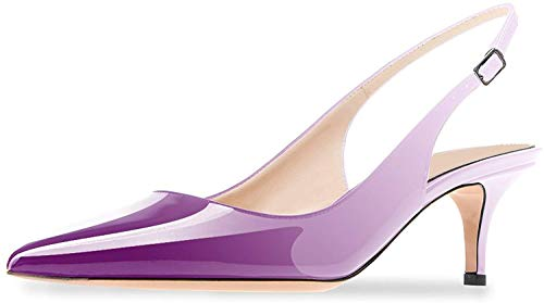 Ayercony Sandals for Woman, Kitten Heel Pumps Pointed Toe Shoes Slip On Sandal for Dress Violet White Size 9.5 US ()