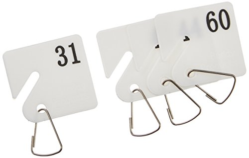Buddy Products Plastic Key Tags, Numbered 31-60, White (0032)