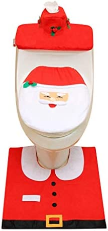 3PCS Fancy Santa Toilet Seat Cover and Rug Bathroom Set Xmas Decor Santa Claus Toilet Cover Toilet + Foot Pad + Water Tank Cover + Paper Towel Cover Anti-Slippery Colorful Home Decor (A) / 3PCS Fancy Santa Toilet Seat Cover and Rug...