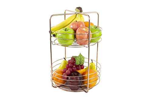 Inspired Living by Mesa Inspired Living Bowl Kitchen BASKETSTAND Copper Criss Cross Collection FRUIT BASKET - 2 TIER,