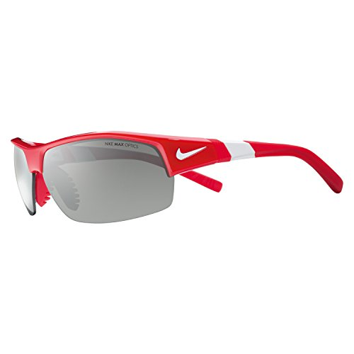 Nike Golf Show X2 Sunglasses, University Red/White Frame, Grey with Silver Flash/Outdoor Tint - Tint Golf Lens