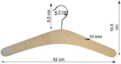 5 pezzi Legno laccato Grucce in legno di faggio Hagspiel laccato naturalmente