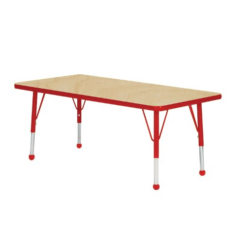 Mahar Kids 36'' X 60'' Rectangle Table Top Color: Maple, Edge Color: Red, Leg Height: Toddler 16''-24'', Glide Style: Ball by Mahar