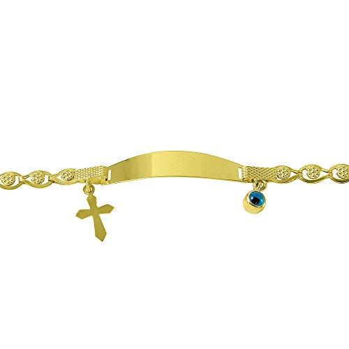 14k Gold Blue Evil Eye Religious Cross Baby Bracelet 6''