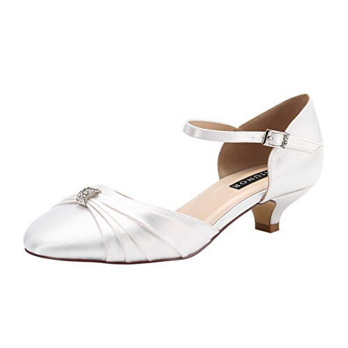 ERIJUNOR E0713B Women Comfort Low Kitten Heel Buckle Ankle Strap Dyeable Satin Bridal Wedding Shoes White Size 9