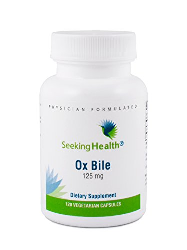 Seeking Health | Ox Bile | 125 mg Digestive Supplement | Standardized to 40% Cholic Acid | Bovine Source from Grass-Fed Oxen | 120 Servings | Bile Cleanse