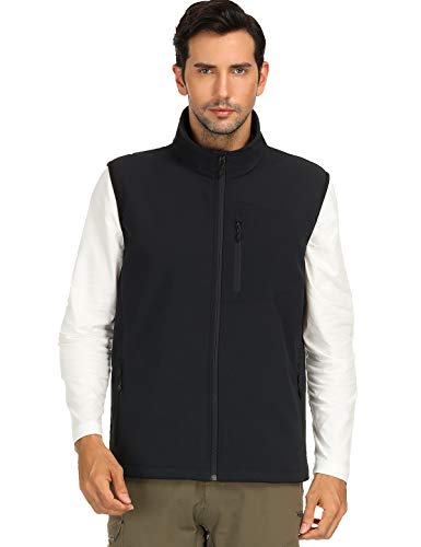 MIER Men's Softshell Vest for Outdoor, Travel, Casual, Work, Lightweight and Windproof, 8 Pockets, Black, M