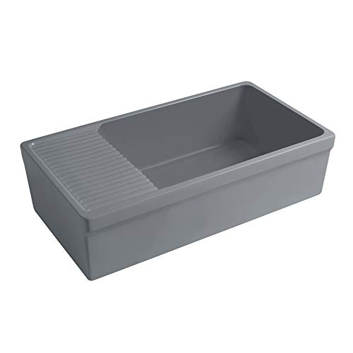 Whitehaus Collection WHQD540-M-CEMENT Quatro Alcove Kitchen, Fireclay, Front Apron Sink, Matte Grey ()
