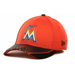 New Era 39Thirty 3930 MLB Miami Marlins Hybrid Hex Hat Cap Stretch Flex Fit M/L
