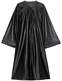 Unisex Adult Shiny Premium Graduation Gown Black Only for High School Bachelor Students and College Ceremony