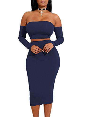 Ropaus Women's Sexy Off Shoulder Strapless Bandeau Long Sleeve Tight Backless 2 Pieces Slim Club Dress Navy Blue Large