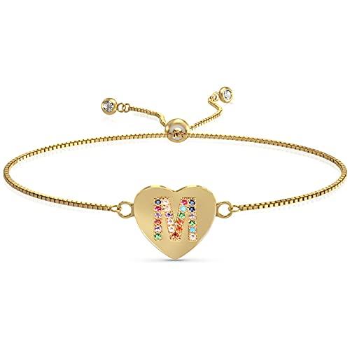 UHIBROS Heart Initial Bracelet for Women, 14K Gold Plated Love Heart Charm Monogram Bracelet , Dainty A to Z Letter Initial Bracelet for Teen Girls-M