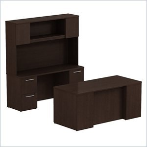 BSH300S048MR - Bush Industries Bush Business 66W x 30D Double Pedestal Desk with 66W Credenza and Hutch