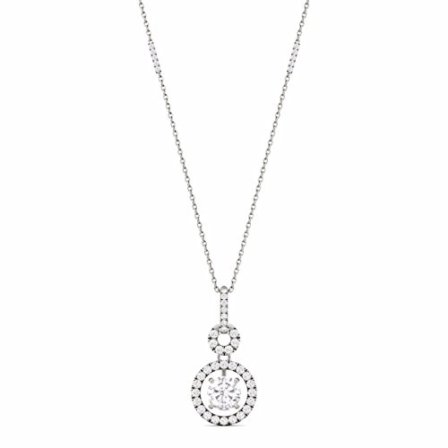 Forever One 14K White Gold Round 6.0mm Moissanite Pendant Necklace, 1.22cttw DEW by Charles & Colvard