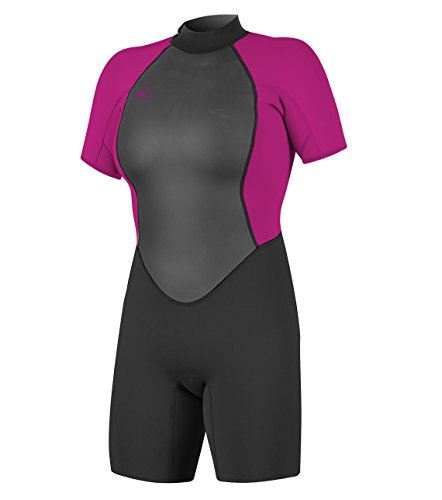 O'Neill Women's Reactor-2 2mm Back Zip Short Sleeve Spring Wetsuit, Black/Berry, 6 ()