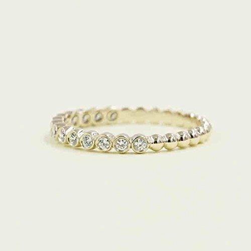 Half Band Eternity Bezel (Half Eternity Bezel Wedding Band, Beaded Diamond Wedding Band, 14k White, Yellow Diamond Band,14 High Quality Diamond, Stacking Diamond Ring)