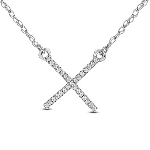 DIAMOND COUTURE X Shaped Diamond 0.05 Carat Pendant Necklace, 14K White Gold Cross Pendant Necklace for Women 16 Inch
