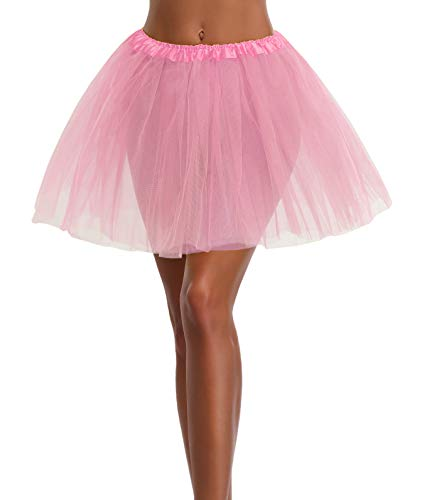 Women's, Teen, Adult Classic Elastic 3, 4, 5 Layered Tulle Tutu Skirt (One Size, LightPink 3Layer)]()