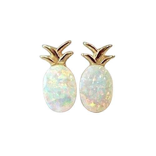 FruitRoseSummer Minimalist Decoration Tiny Cute Pineapple Stud Earrings for Women (Silver)