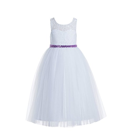 Communion Dresses Designer - ekidsbridal Floral Lace Scoop Neck A-Line