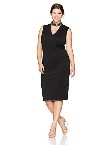 S.L. Fashions Women's Plus Size Sleeveless Beaded Gigi Neckline Midi Sheath Dress, Black, 18W ()