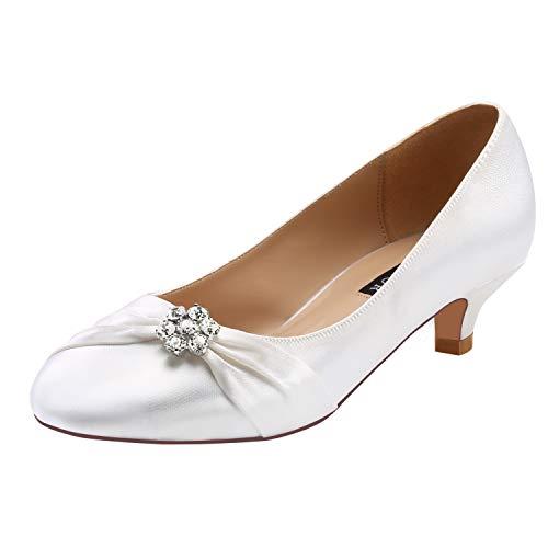 (ERIJUNOR E0110 Women Closed Toe Comfort Kitten Heels Rhinestones Satin Wedding Evening Dress Shoes White Size 10)